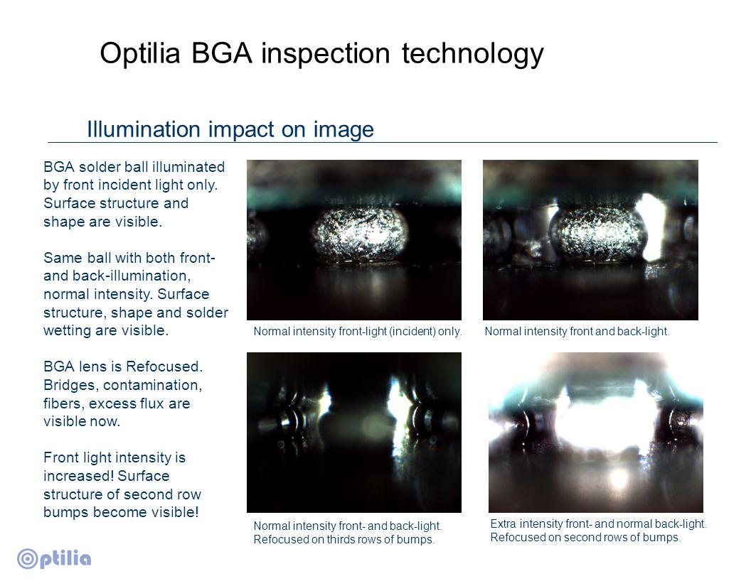 Optilia BGA inspection technology Sample pictures Connection failure, BGA component.