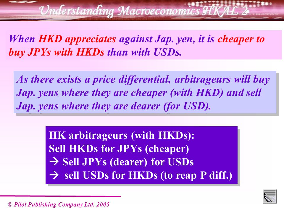 © Pilot Publishing Company Ltd.2005 When HKD appreciates against Jap.