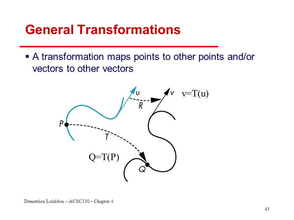 Demetriou/Loizidou – ACSC330 – Chapter 4 43 General Transformations  A transformation maps points to other points and/or vectors to other vectors Q=T