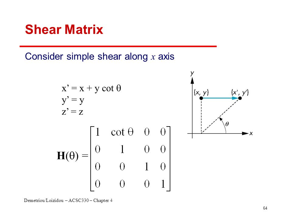 Demetriou/Loizidou – ACSC330 – Chapter 4 64 Shear Matrix Consider simple shear along x axis x' = x + y cot  y' = y z' = z H(  ) =