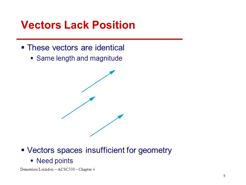 Demetriou/Loizidou – ACSC330 – Chapter 4 9 Vectors Lack Position  These vectors are identical  Same length and magnitude  Vectors spaces insufficie