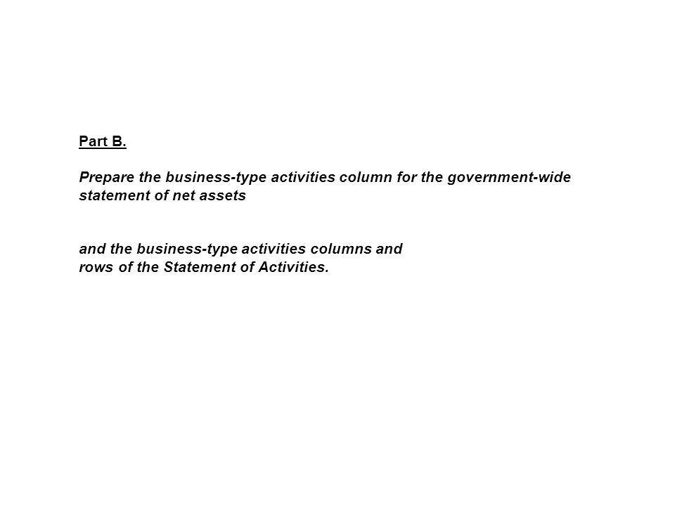 Part B. Prepare the business-type activities column for the government-wide statement of net assets and the business-type activities columns and rows