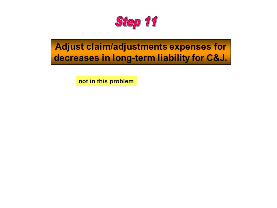 Adjust claim/adjustments expenses for decreases in long-term liability for C&J. not in this problem