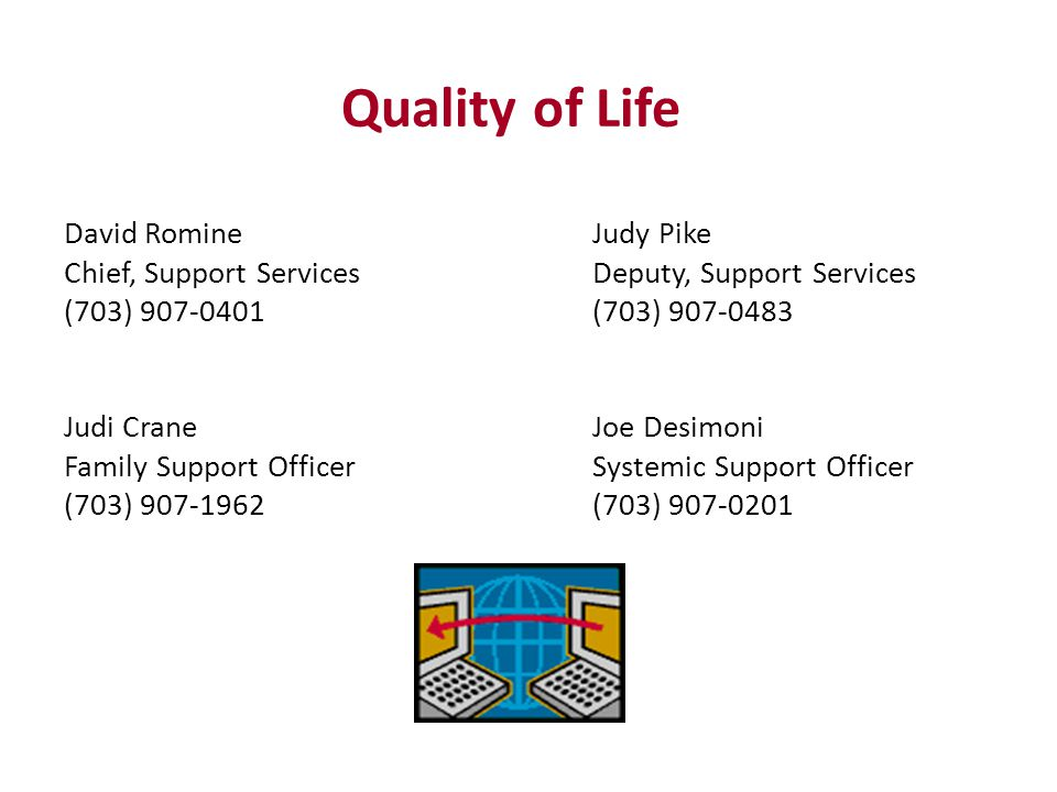 David RomineJudy Pike Chief, Support ServicesDeputy, Support Services (703) (703) Judi CraneJoe Desimoni Family Support OfficerSystemic Support Officer (703) (703) Quality of Life
