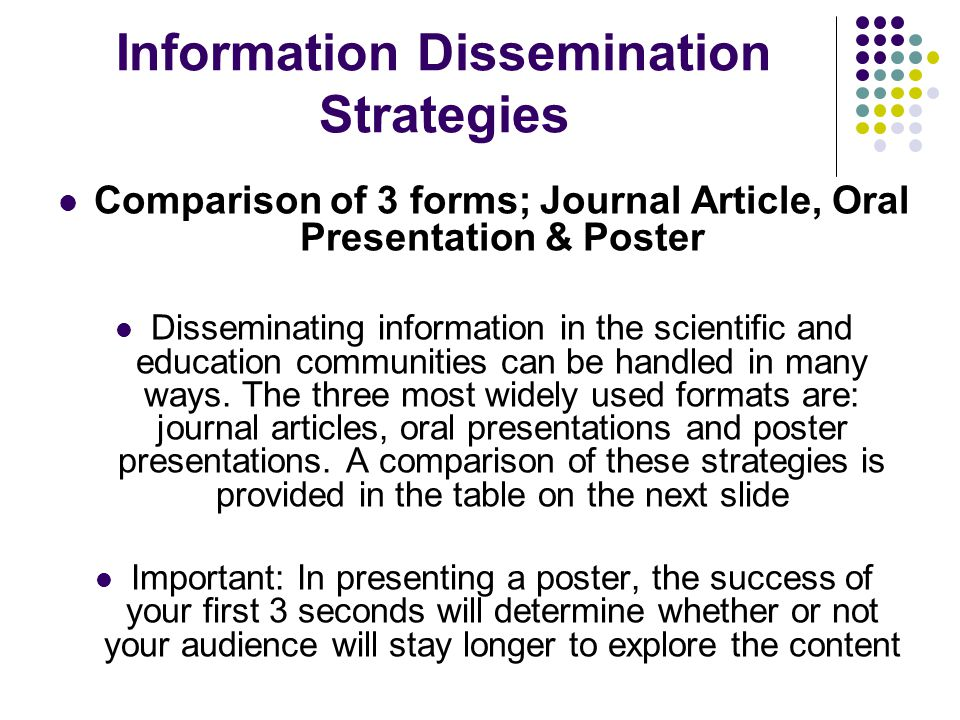 Information Dissemination Strategies Comparison of 3 forms; Journal Article, Oral Presentation & Poster Disseminating information in the scientific an
