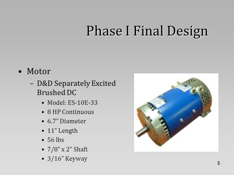 6 Phase I Final Design Controller –Alltrax DCX600 24-48V Battery Input 600 Amp Limit for 2 minutes 30 Amp Field Winding Limit Standby current: < 35mA Drives motor to 17 peak HP 18 kHz Operating Frequency -25 C to 75 C Operating Temperature –95 C shutdown