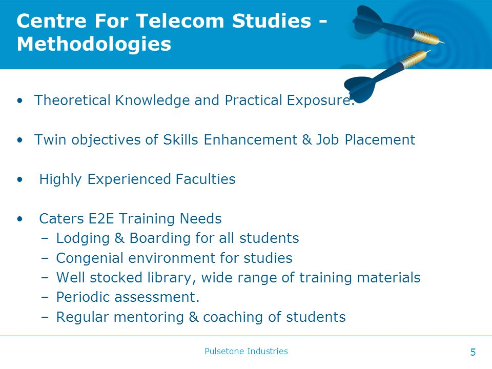 Centre For Telecom Studies - Methodologies Theoretical Knowledge and Practical Exposure.