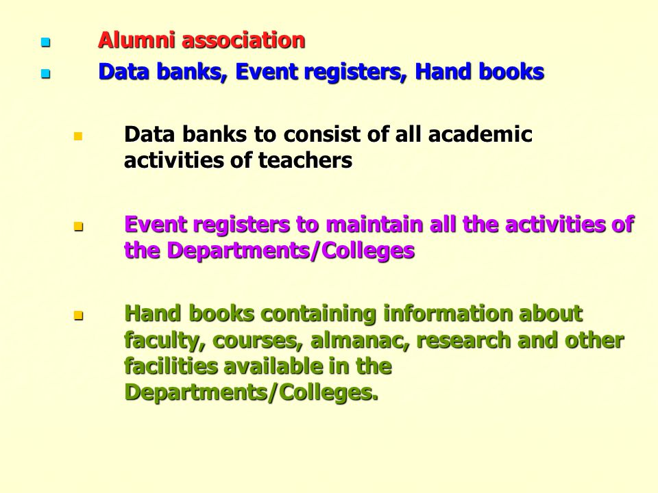 Alumni association Alumni association Data banks, Event registers, Hand books Data banks, Event registers, Hand books Data banks to consist of all aca