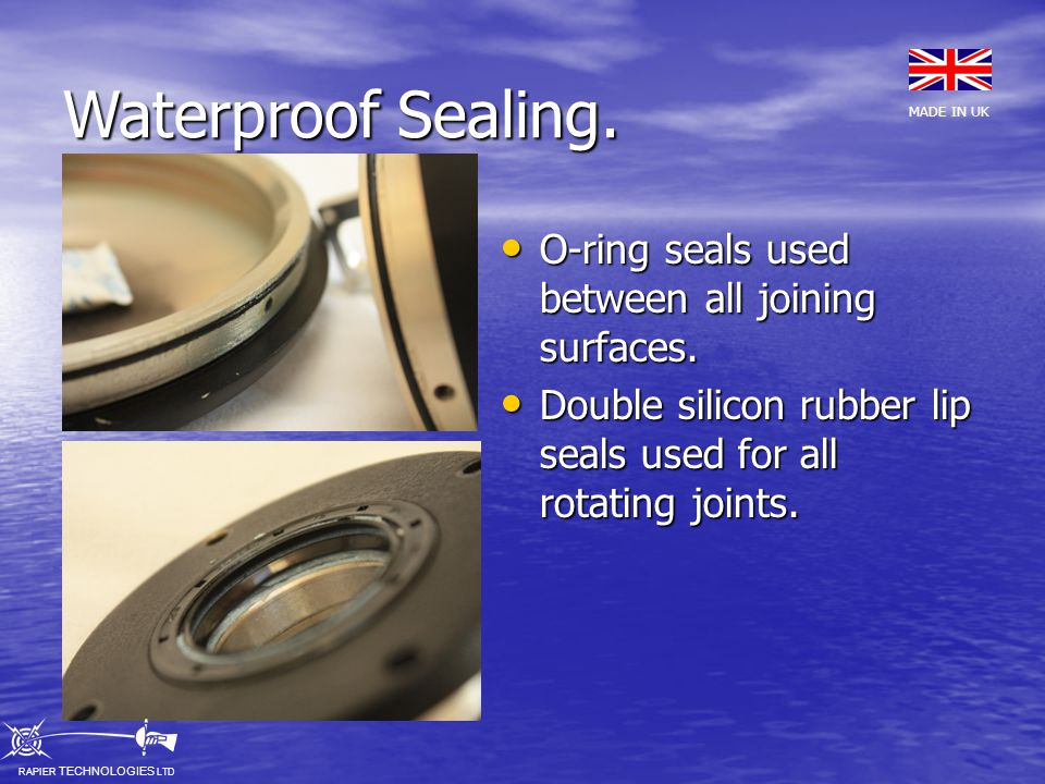Waterproof Sealing.O-ring seals used between all joining surfaces.