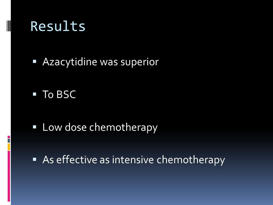 Results  Azacytidine was superior  To BSC  Low dose chemotherapy  As effective as intensive chemotherapy