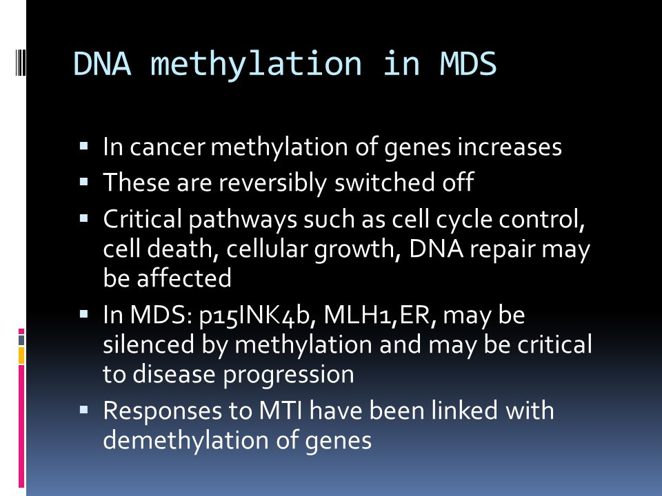 DNA methylation in MDS  In cancer methylation of genes increases  These are reversibly switched off  Critical pathways such as cell cycle control, cell death, cellular growth, DNA repair may be affected  In MDS: p15INK4b, MLH1,ER, may be silenced by methylation and may be critical to disease progression  Responses to MTI have been linked with demethylation of genes