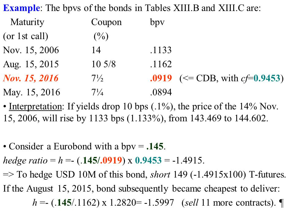 Example: The bpvs of the bonds in Tables XIII.B and XIII.C are: MaturityCouponbpv (or 1st call) (%) Nov.