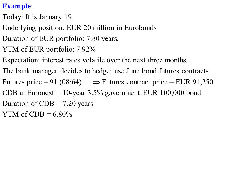 Example: Today: It is January 19. Underlying position: EUR 20 million in Eurobonds.