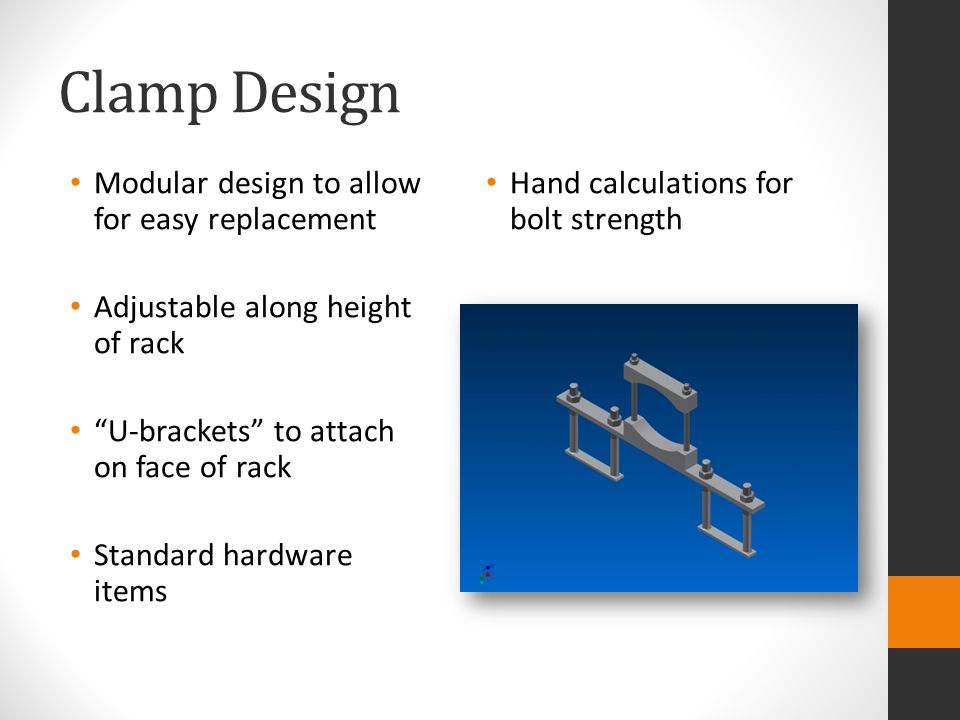 Clamp Design Modular design to allow for easy replacement Adjustable along height of rack U-brackets to attach on face of rack Standard hardware items Hand calculations for bolt strength