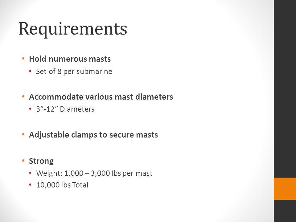"""Requirements Hold numerous masts Set of 8 per submarine Accommodate various mast diameters 3""""-12"""" Diameters Adjustable clamps to secure masts Strong W"""
