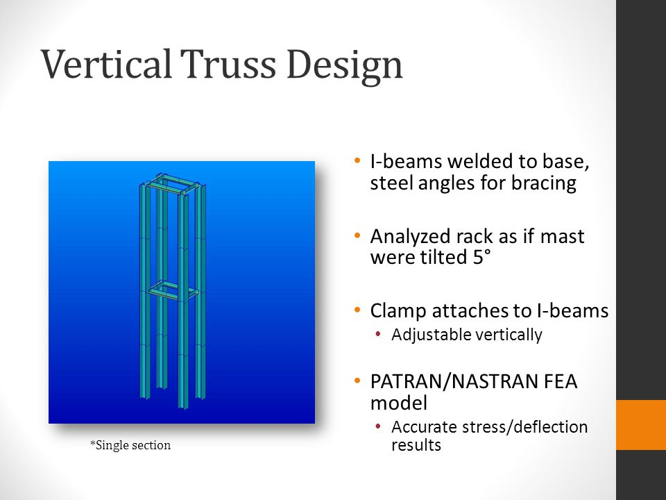 Vertical Truss Design I-beams welded to base, steel angles for bracing Analyzed rack as if mast were tilted 5° Clamp attaches to I-beams Adjustable ve