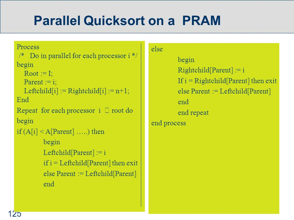 125 Parallel Quicksort on a PRAM Process /* Do in parallel for each processor i */ begin Root := I; Parent := i; Leftchild[i] := Rightchild[i] := n+1; End Repeat for each processor i  root do begin if (A[i] < A[Parent] …..) then begin Leftchild[Parent] := i if i = Leftchild[Parent] then exit else Parent := Leftchild[Parent] end else begin Rightchild[Parent] := i If i = Rightchild[Parent] then exit else Parent := Leftchild[Parent] end end repeat end process