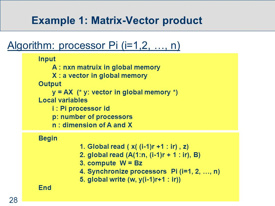28 Example 1: Matrix-Vector product Algorithm: processor Pi (i=1,2, …, n) Begin 1.