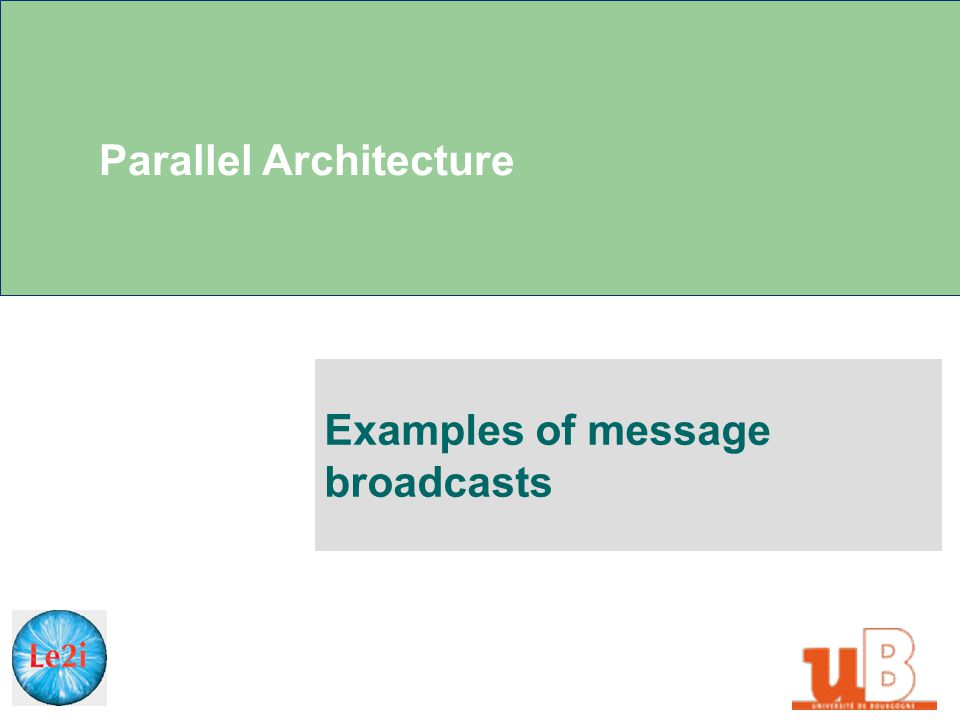 Parallel Architecture Examples of message broadcasts