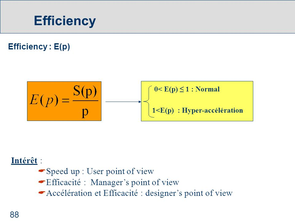 88 Efficiency Efficiency : E(p) 0< E(p) ≤ 1 : Normal 1<E(p) : Hyper-accélération Intérêt :  Speed up : User point of view  Efficacité : Manager's point of view  Accélération et Efficacité : designer's point of view