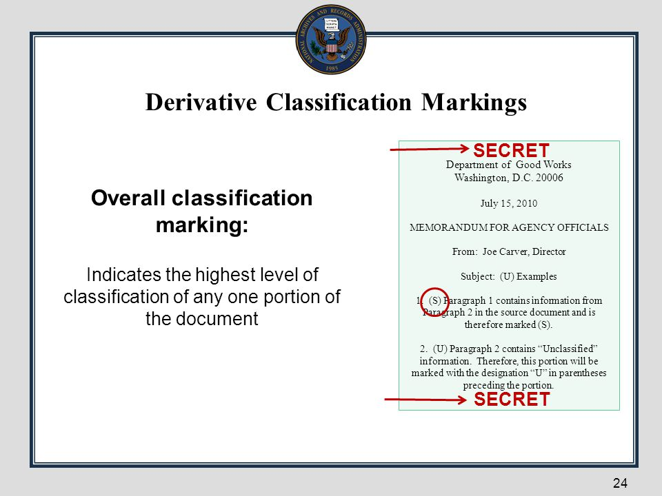 24 Overall classification marking: Indicates the highest level of classification of any one portion of the document Department of Good Works Washingto
