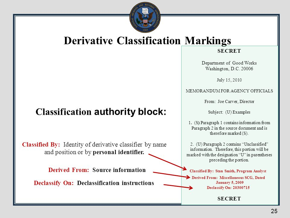 25 Classification authority block: SECRET Department of Good Works Washington, D.C. 20006 July 15, 2010 MEMORANDUM FOR AGENCY OFFICIALS From: Joe Carv