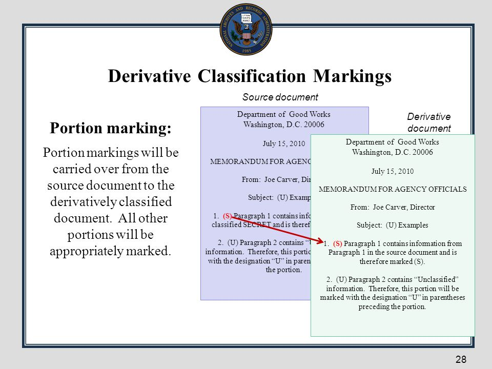 28 Portion marking: Portion markings will be carried over from the source document to the derivatively classified document. All other portions will be