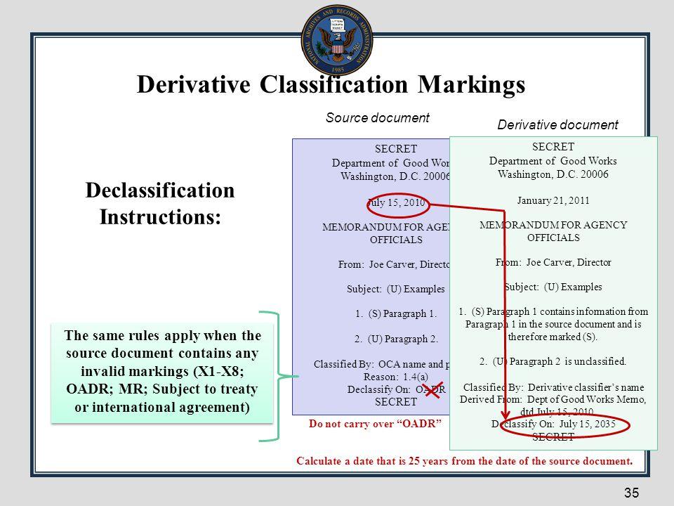 35 Declassification Instructions: SECRET Department of Good Works Washington, D.C. 20006 July 15, 2010 MEMORANDUM FOR AGENCY OFFICIALS From: Joe Carve