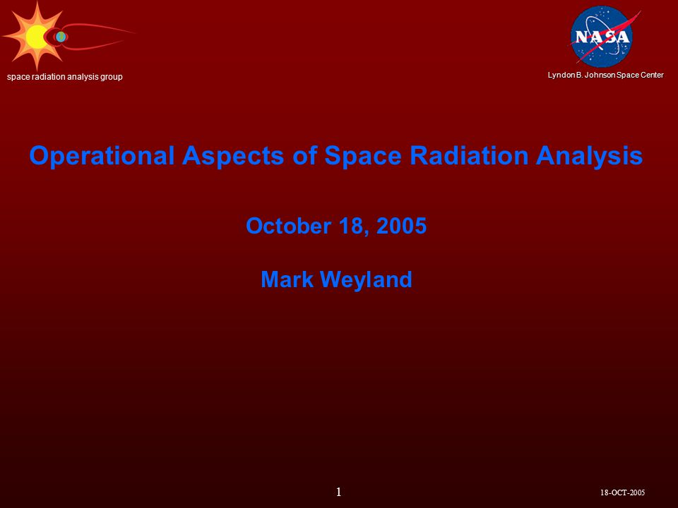 18-OCT-2005 Lyndon B. Johnson Space Center space radiation analysis group 12 REAL TIME
