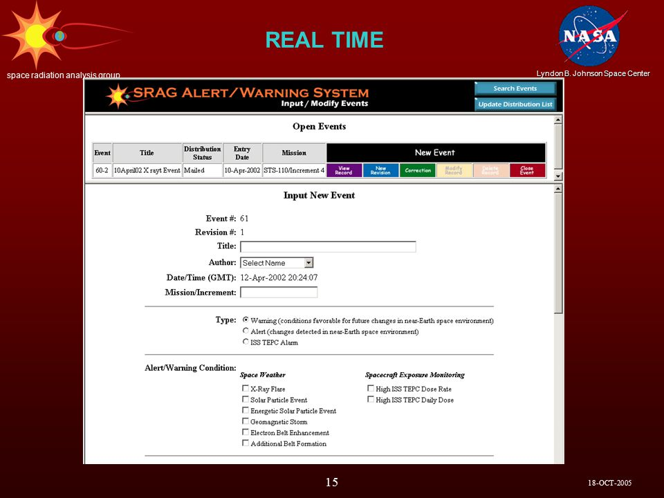 18-OCT-2005 Lyndon B. Johnson Space Center space radiation analysis group 15 REAL TIME