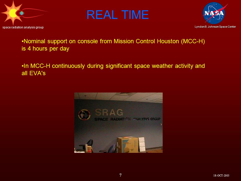 18-OCT-2005 Lyndon B. Johnson Space Center space radiation analysis group 8 SPACE WEATHER
