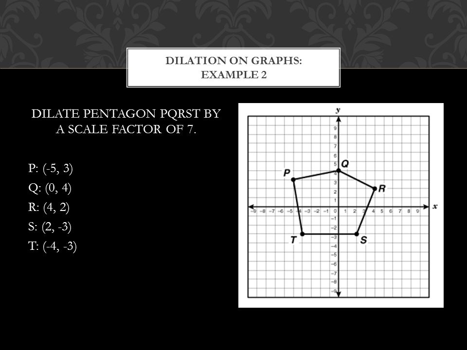 DILATE PENTAGON PQRST BY A SCALE FACTOR OF 7. P: (-5, 3) Q: (0, 4) R: (4, 2) S: (2, -3) T: (-4, -3) DILATION ON GRAPHS: EXAMPLE 2