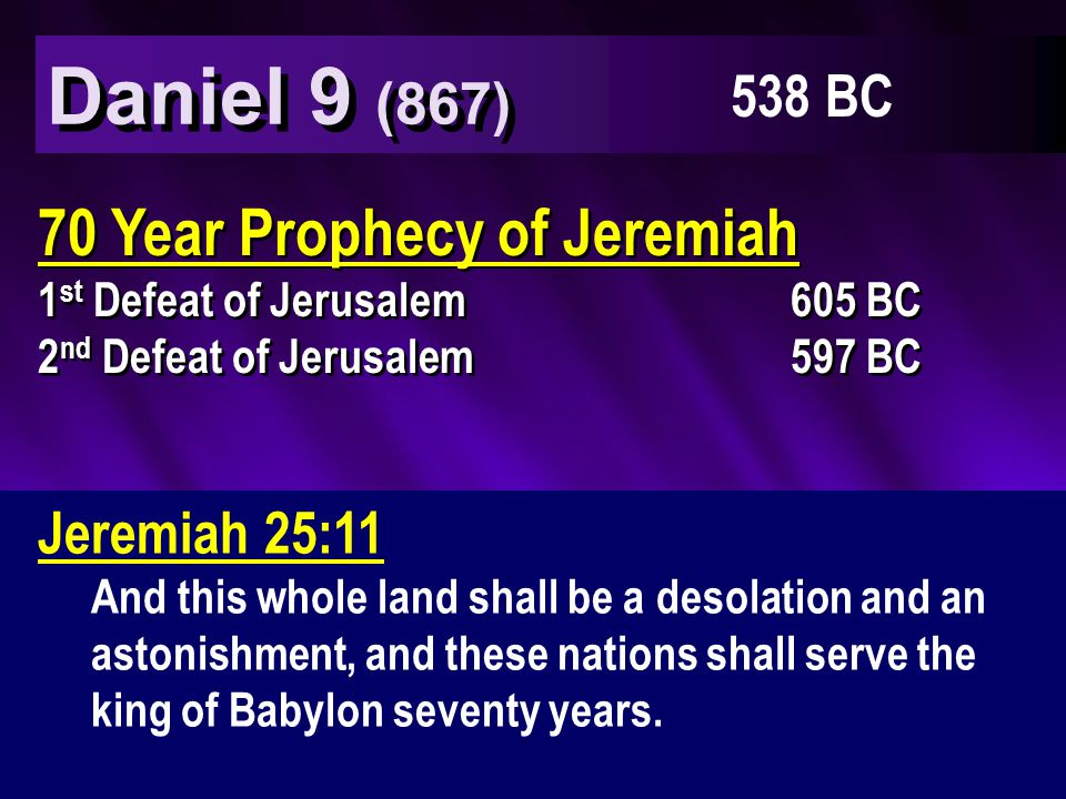 Jeremiah 25:11 And this whole land shall be a desolation and an astonishment, and these nations shall serve the king of Babylon seventy years.