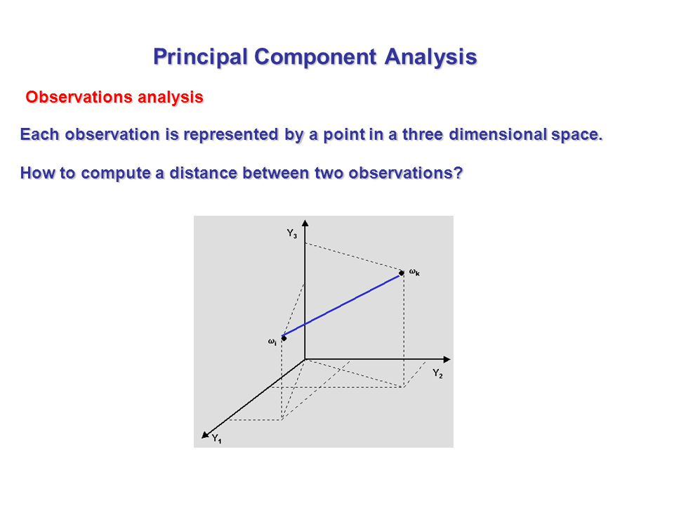 Observations analysis Each observation is represented by a point in a three dimensional space. How to compute a distance between two observations? Pri