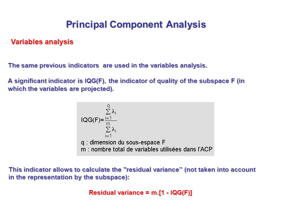 The same previous indicators are used in the variables analysis. A significant indicator is IQG(F), the indicator of quality of the subspace F (in whi