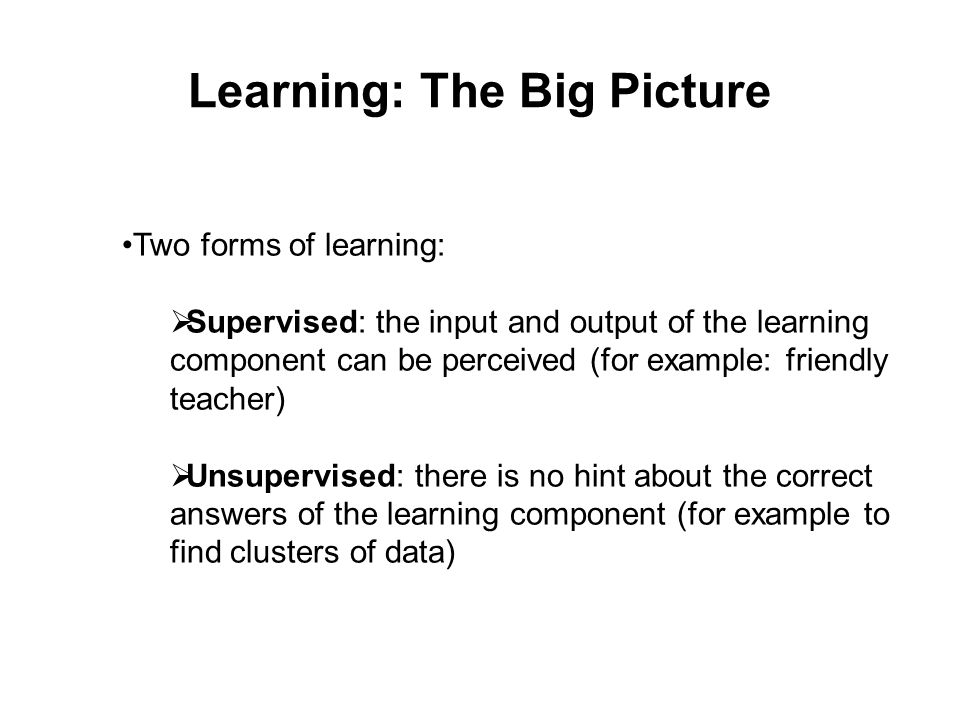 Learning: The Big Picture Two forms of learning:  Supervised: the input and output of the learning component can be perceived (for example: friendly teacher)  Unsupervised: there is no hint about the correct answers of the learning component (for example to find clusters of data)