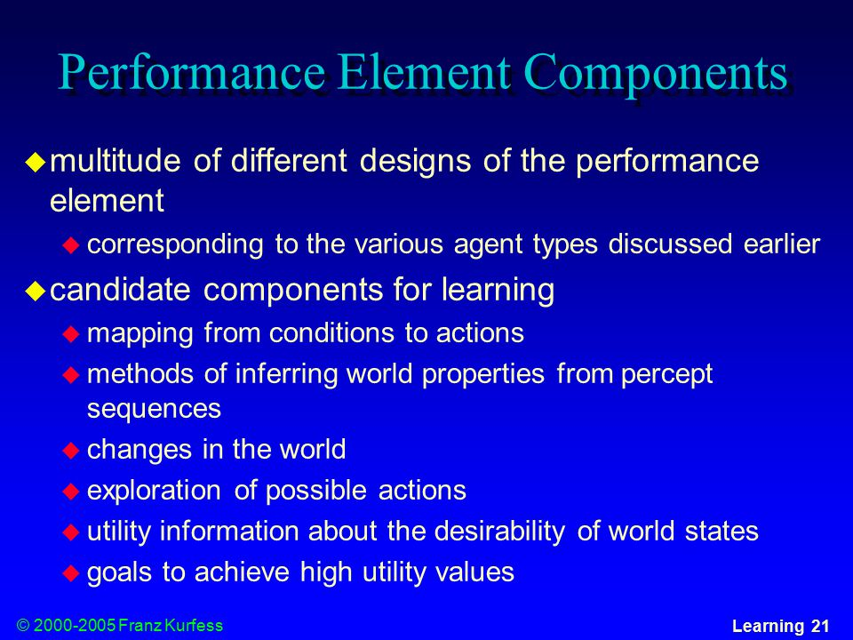 © Franz Kurfess Learning 21 Performance Element Components  multitude of different designs of the performance element  corresponding to the various agent types discussed earlier  candidate components for learning  mapping from conditions to actions  methods of inferring world properties from percept sequences  changes in the world  exploration of possible actions  utility information about the desirability of world states  goals to achieve high utility values