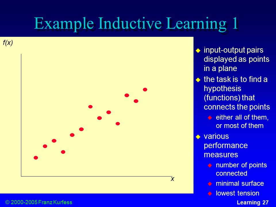 © Franz Kurfess Learning 27 Example Inductive Learning 1 x f(x)  input-output pairs displayed as points in a plane  the task is to find a hypothesis (functions) that connects the points  either all of them, or most of them  various performance measures  number of points connected  minimal surface  lowest tension
