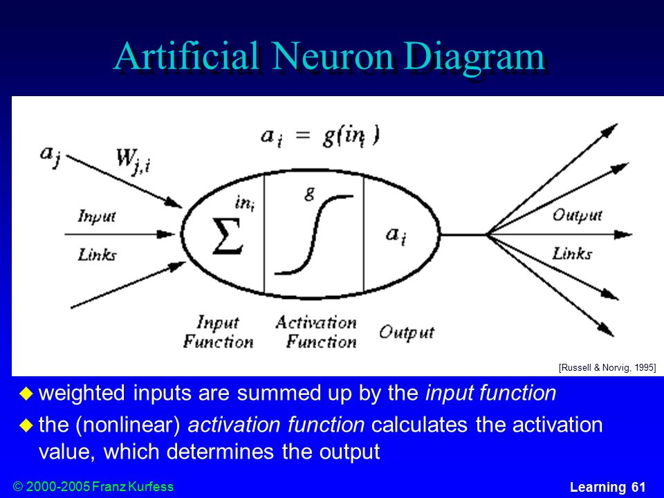 © Franz Kurfess Learning 61 Artificial Neuron Diagram  weighted inputs are summed up by the input function  the (nonlinear) activation function calculates the activation value, which determines the output [Russell & Norvig, 1995]