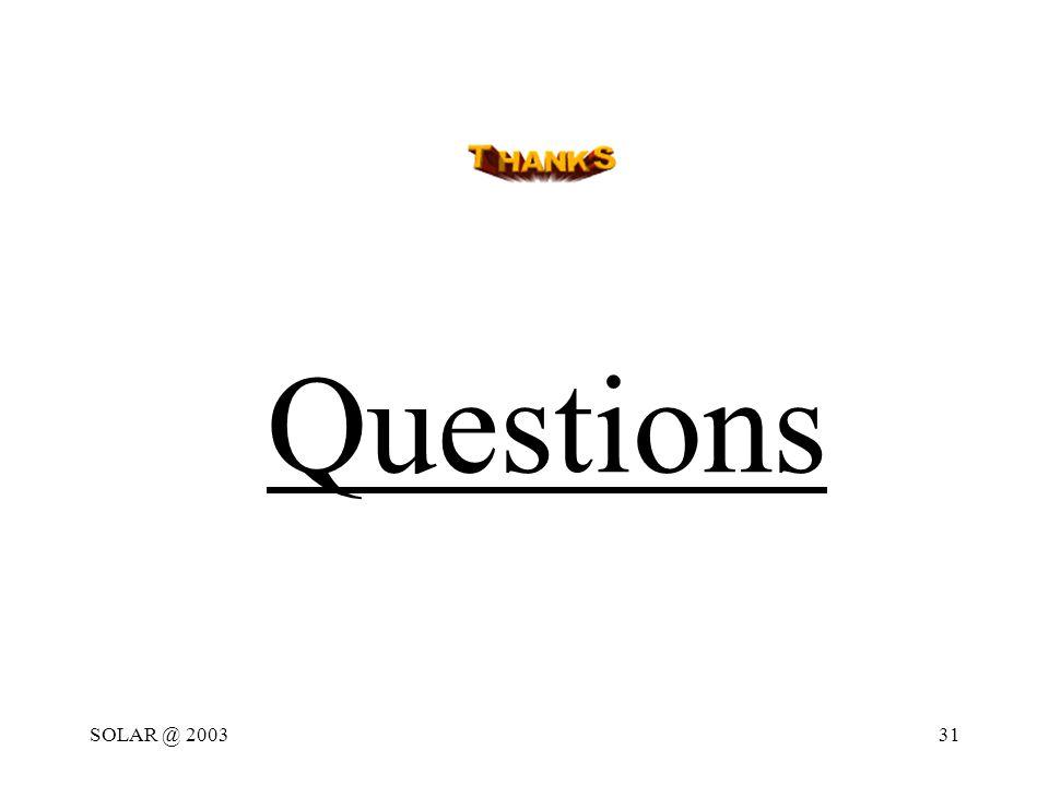 SOLAR @ 200331 Questions