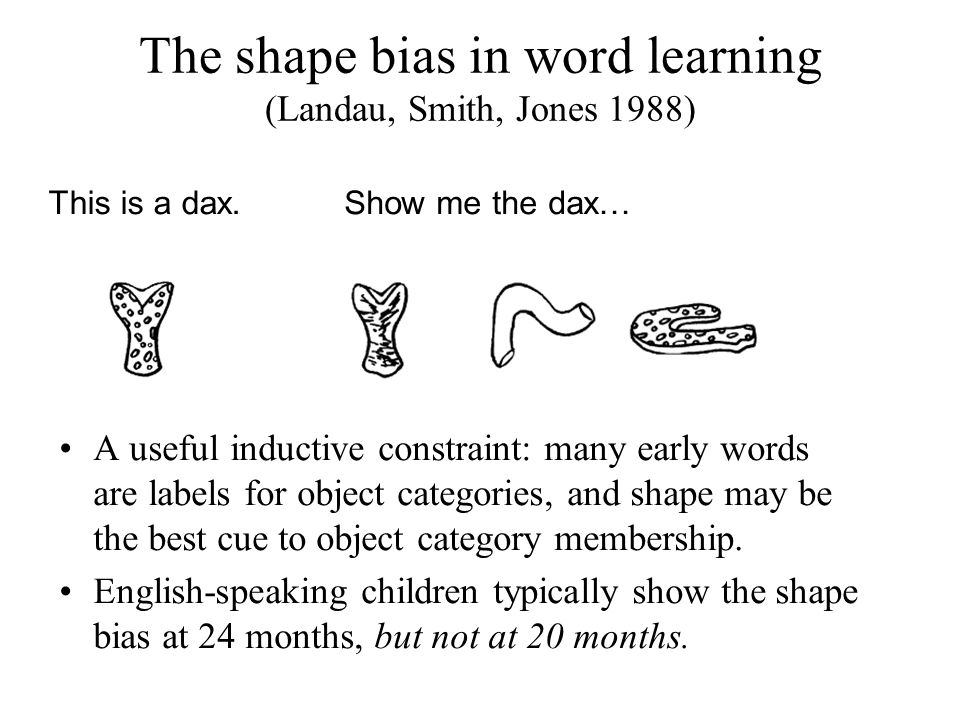 The shape bias in word learning (Landau, Smith, Jones 1988) This is a dax.Show me the dax… A useful inductive constraint: many early words are labels for object categories, and shape may be the best cue to object category membership.