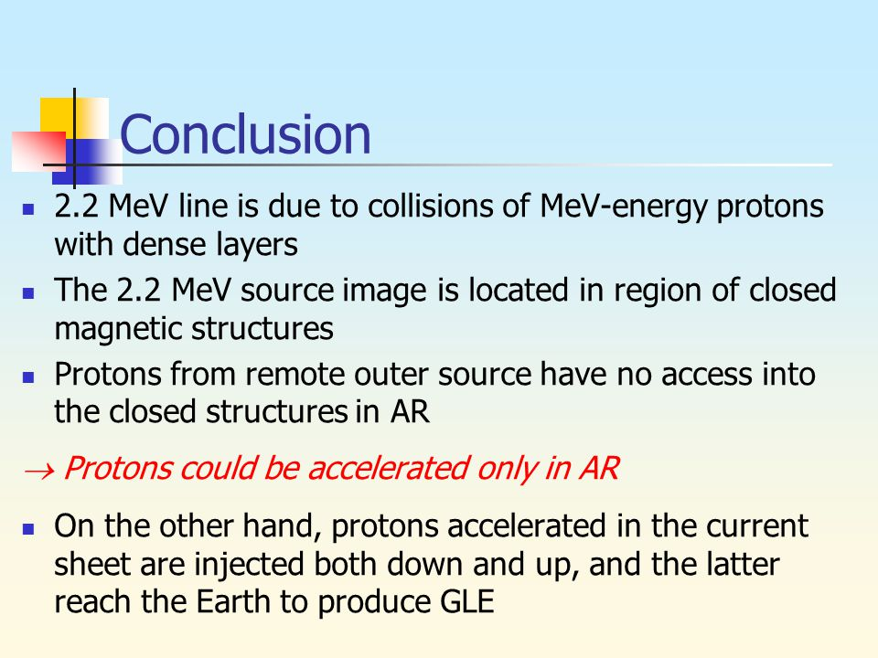 Conclusion 2.2 MeV line is due to collisions of MeV-energy protons with dense layers The 2.2 MeV source image is located in region of closed magnetic structures Protons from remote outer source have no access into the closed structures in AR  Protons could be accelerated only in AR On the other hand, protons accelerated in the current sheet are injected both down and up, and the latter reach the Earth to produce GLE