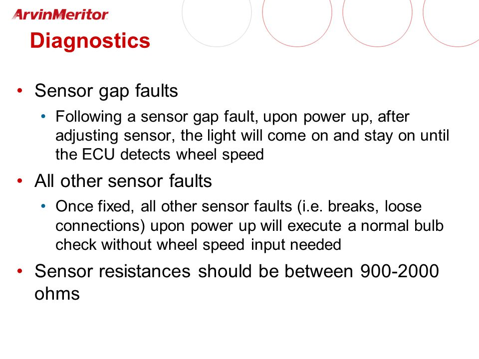 Diagnostics Sensor gap faults Following a sensor gap fault, upon power up, after adjusting sensor, the light will come on and stay on until the ECU detects wheel speed All other sensor faults Once fixed, all other sensor faults (i.e.
