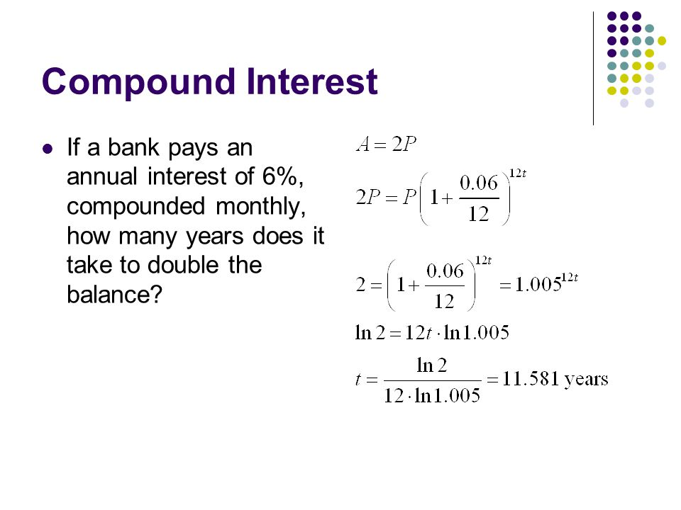 Compound Interest If a bank pays an annual interest of 6%, compounded monthly, how many years does it take to double the balance