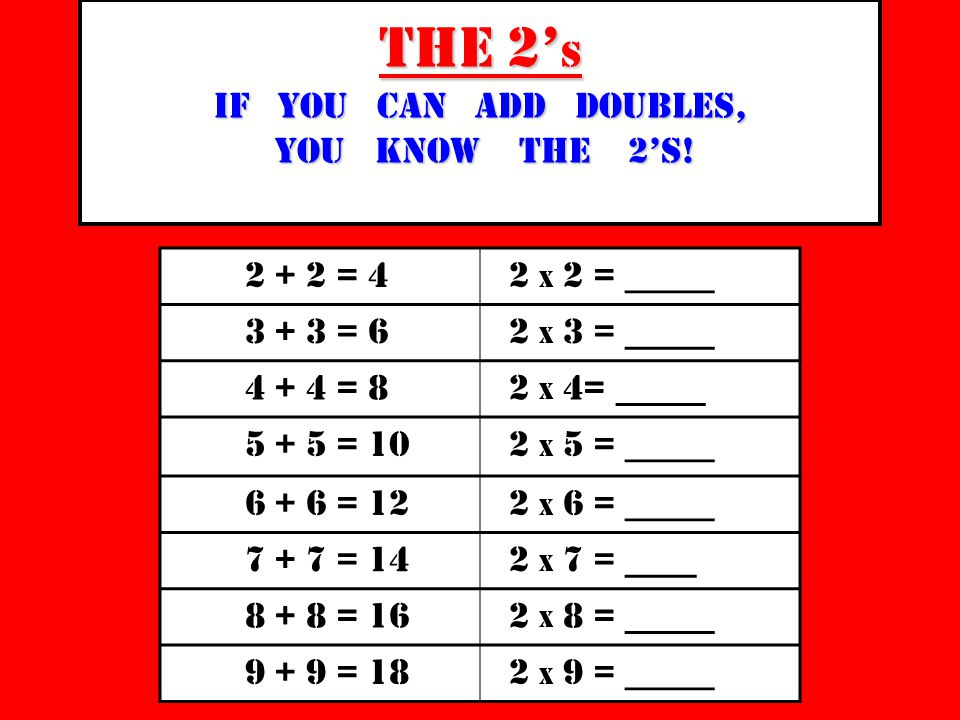 The 2' s if you can add doubles, you know the 2's.