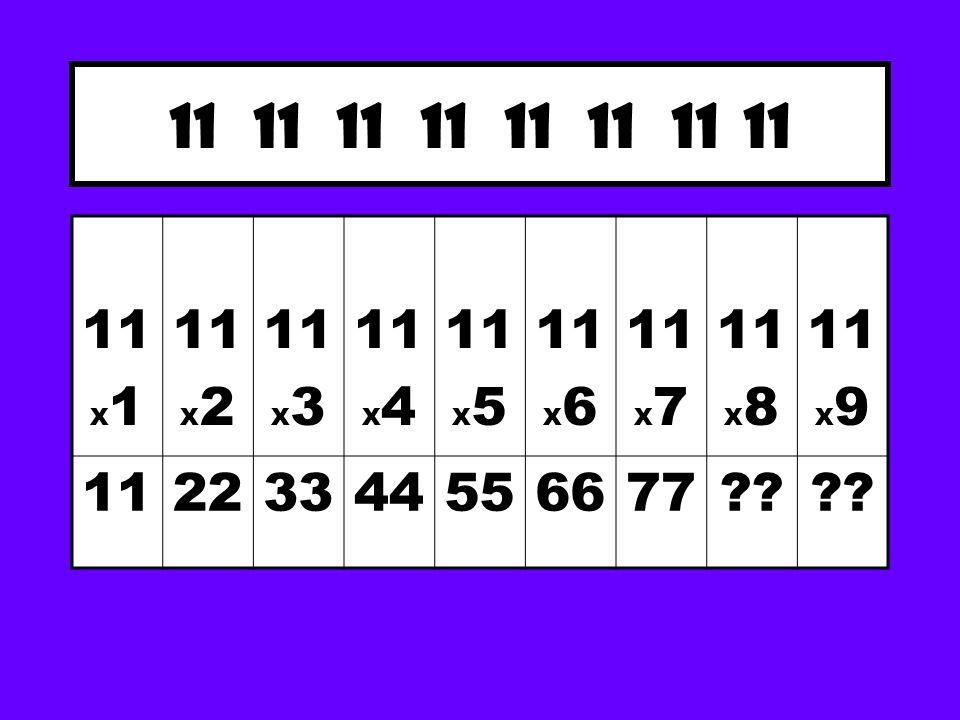 11 11 11 11 11 X 1 11 X 2 11 X 3 11 X 4 11 X 5 11 X 6 11 X 7 11 X 8 11 X 9 11223344556677