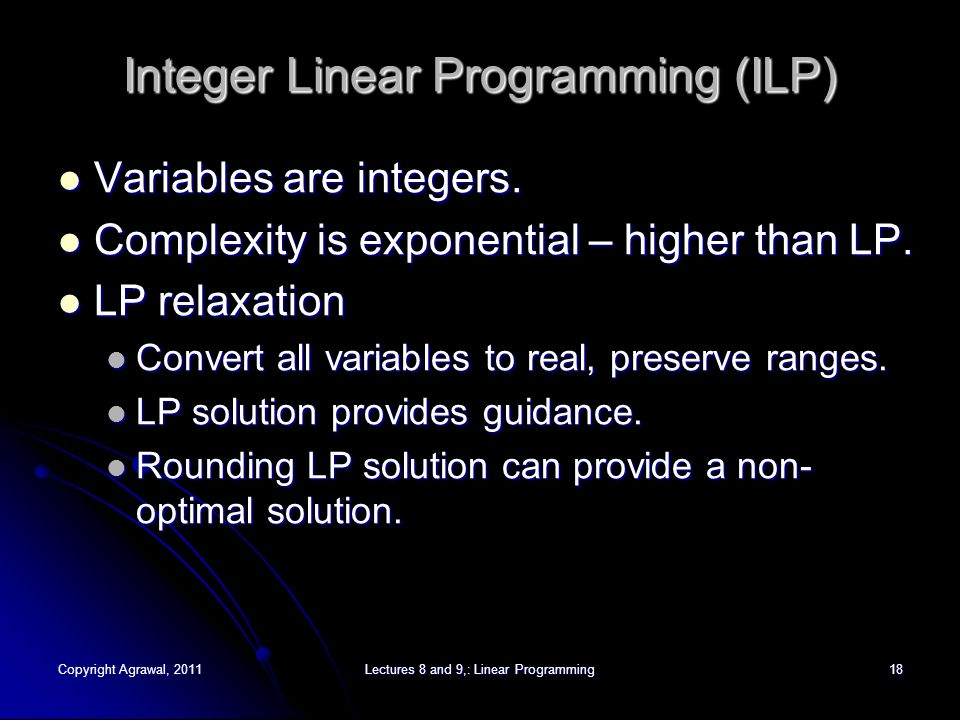 Copyright Agrawal, 2011Lectures 8 and 9,: Linear Programming19 Traveling Salesperson Problem (TSP) 1 3 2 5 4 12 27 18 10 5 20 12 15 19 6