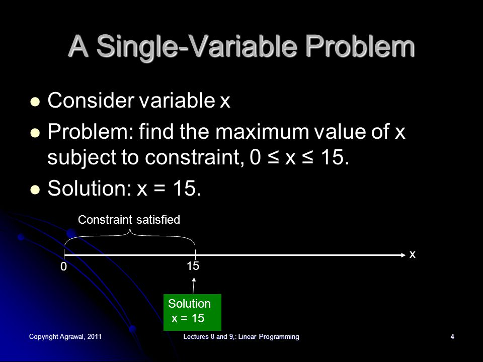 Copyright Agrawal, 2011Lectures 8 and 9,: Linear Programming5 Single Variable Problem (Cont.) Consider more complex constraints: Maximize x, subject to following constraints: x ≥ 0(1) 5x ≤ 75(2) 6x ≤ 30(3) x ≤ 10(4) 051015x (1) (2) (3) (4) All constraints satisfied Solution, x = 5