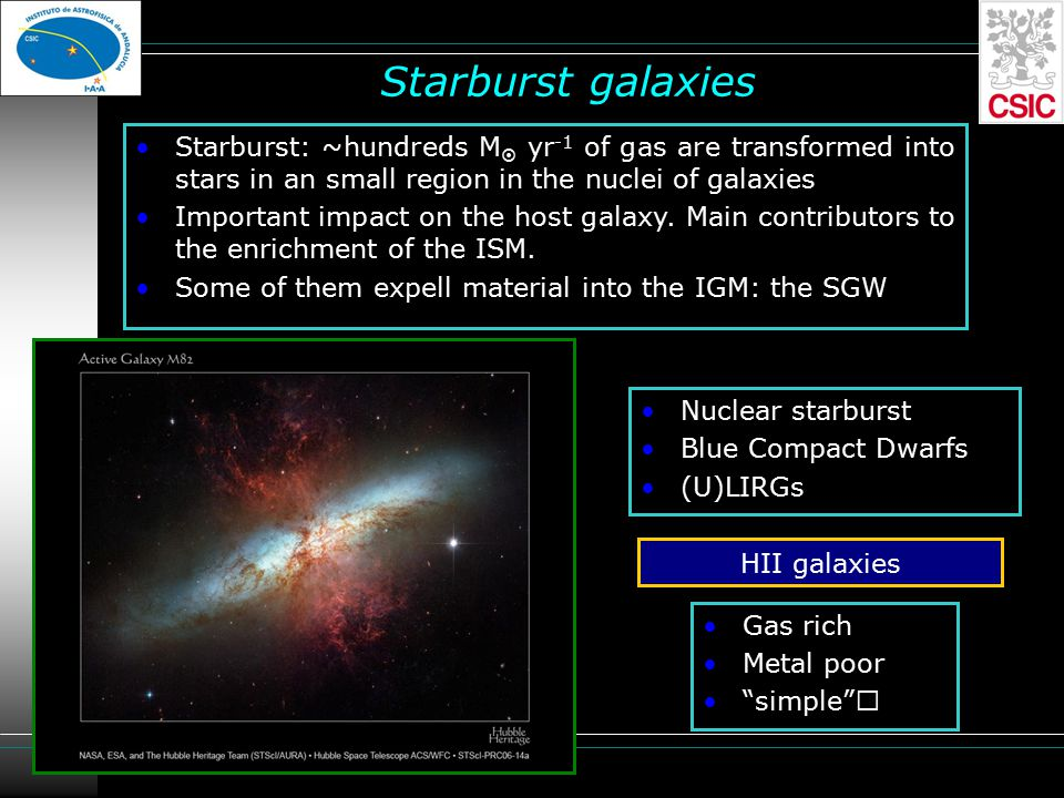 Starburst galaxies Starburst: ~hundreds M  yr -1 of gas are transformed into stars in an small region in the nuclei of galaxies Important impact on the host galaxy.