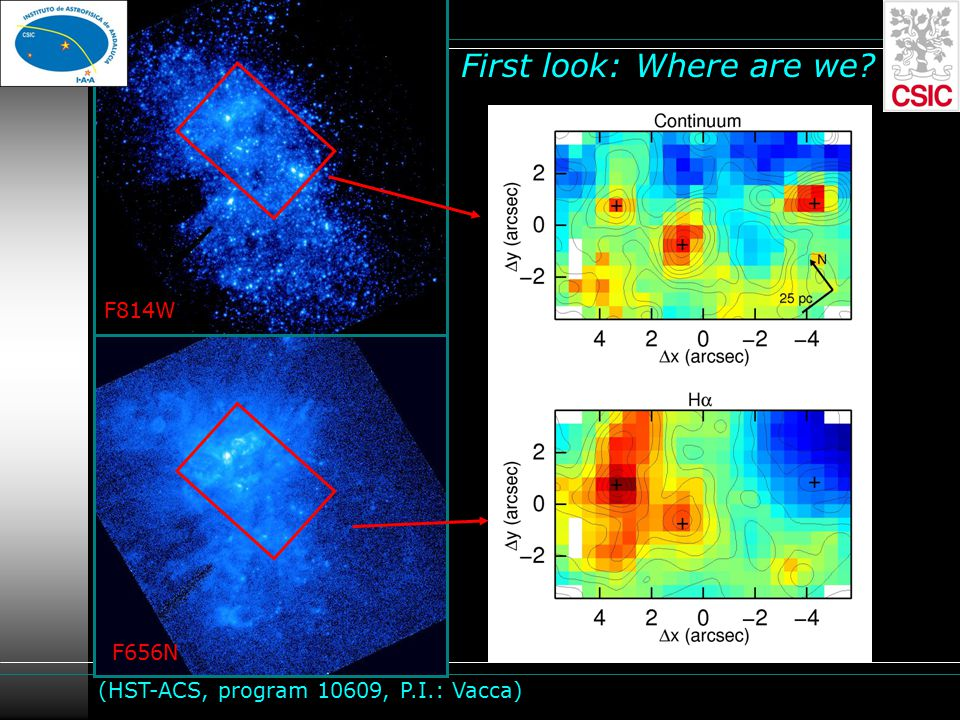 First look: Where are we F814W F656N (HST-ACS, program 10609, P.I.: Vacca)